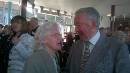 Madge Elliot with Lord Steel at Galashiels on 5th September 2015